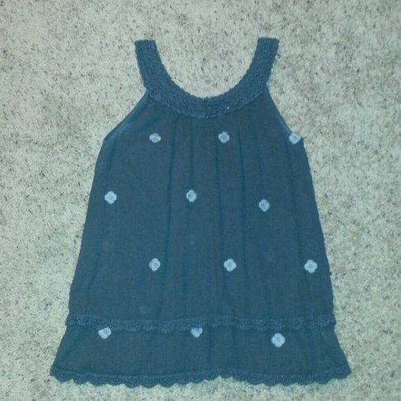 Tank Top Grey cotton tank with crochet trim and embroidery designs on it true grit Tops Tank Tops