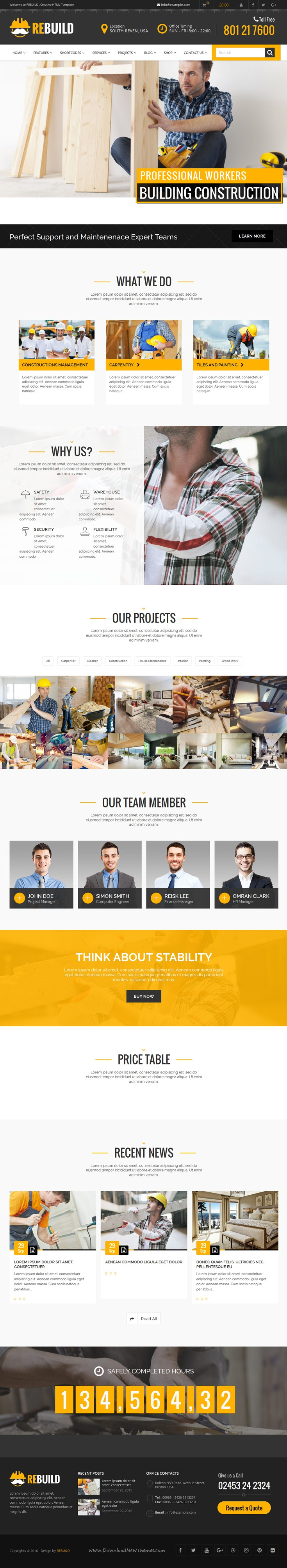 ReBuild is a clean and modern business #WordPress theme designed to serve #construction, maintenance, building companies and building hardware service providers #website.