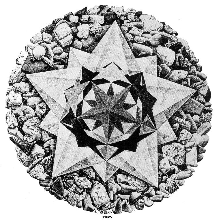 an analysis of the various characters of dutch artist maurits c escher The strange worlds of m c escher  in even more complex works the artist uses several different perspectival vanishing points to turn parts of the picture back-to .