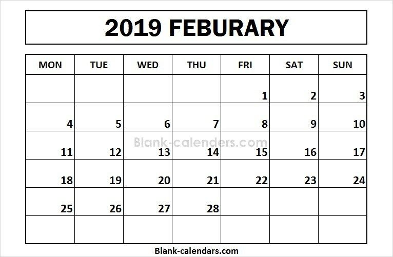 Printable February 2019 Calendar Monday Start Calendar 2018 In