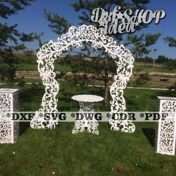 DXF Wedding Set Scroll Design Newlyweds Decorative Pattern