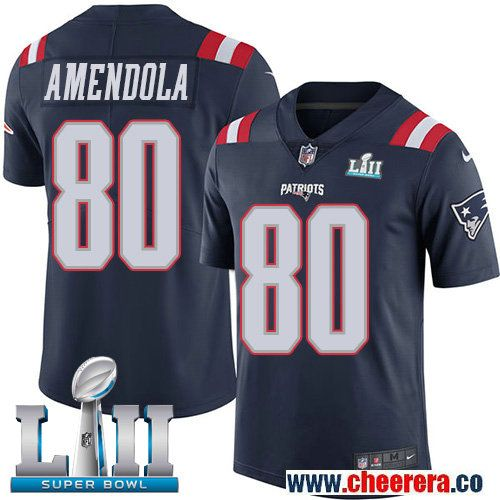 Nike Patriots 80 Danny Amendola Navy 2018 Super Bowl LII Color Rush Limited  Jersey 447150870