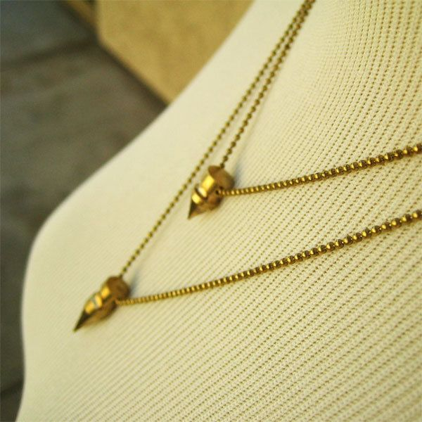 Double Bullet Necklace Cool Necklace Brass Jewelry Fashion Necklace