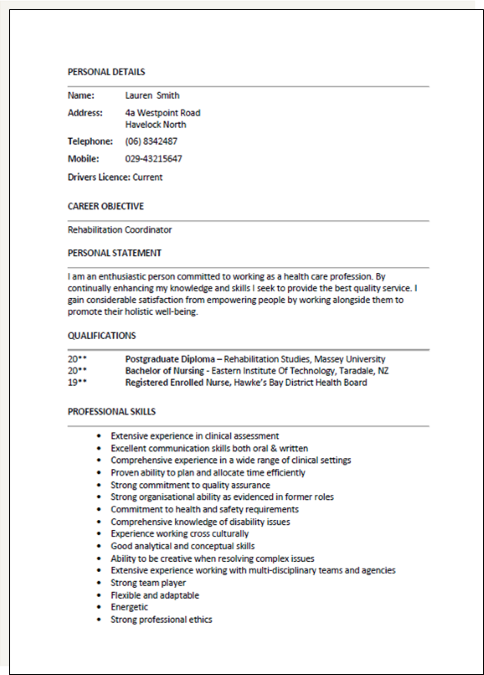 example cv new zealand working visav