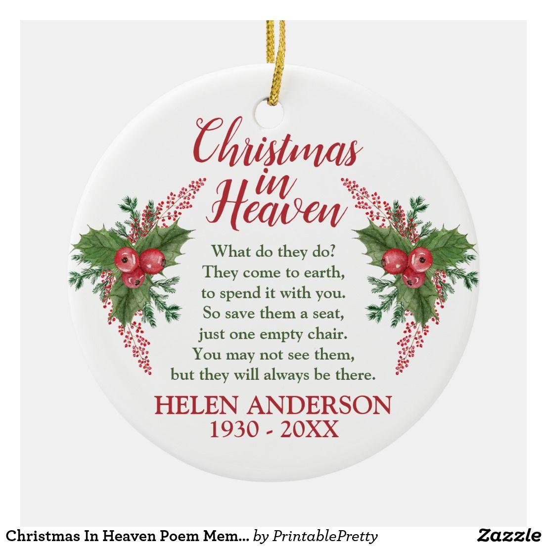 Christmas In Heaven Poem Memorial Photo Holiday Ceramic