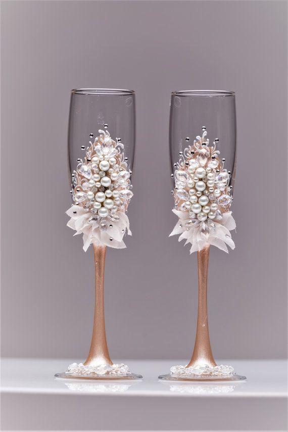 Wedding glasses and cake server set pearl Champagne flutes cake ...
