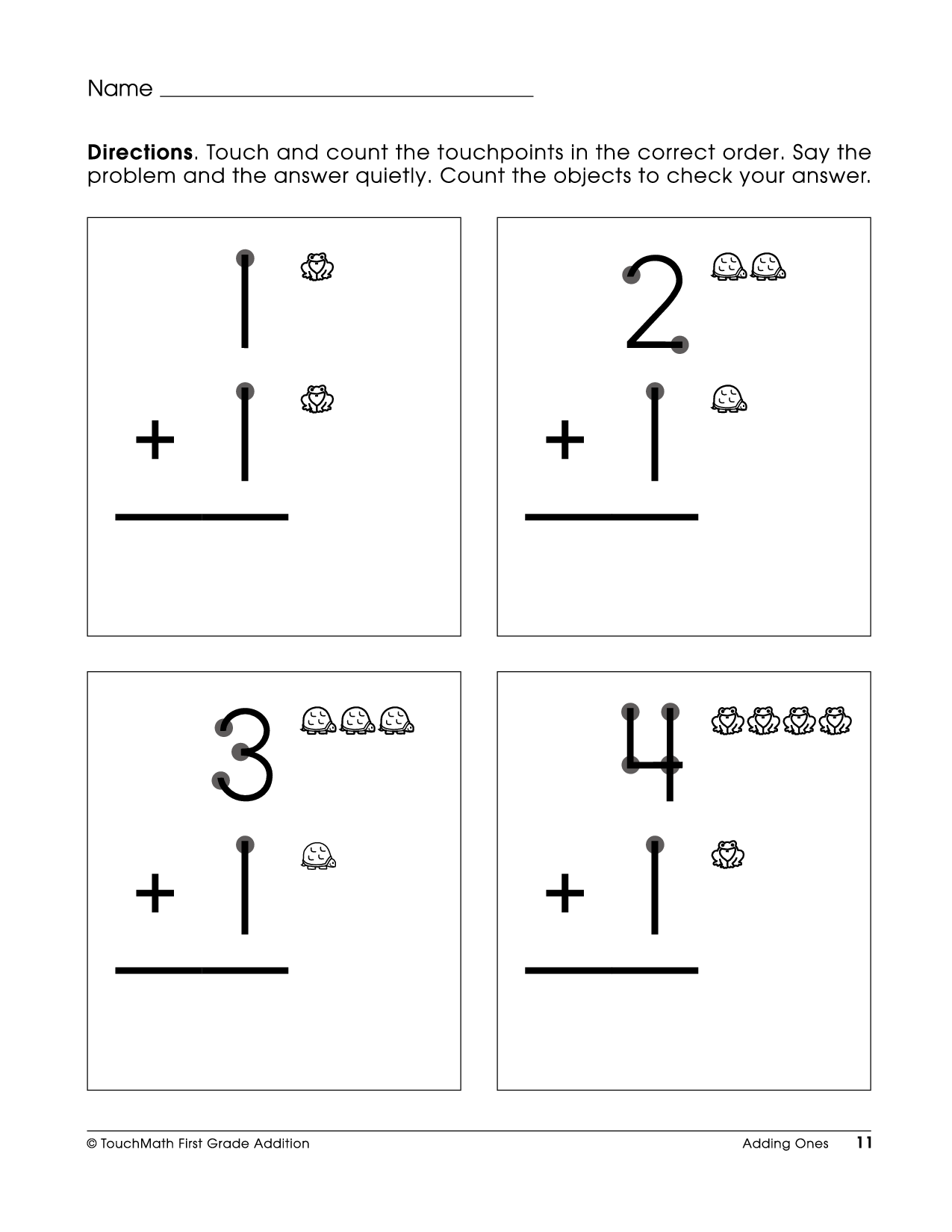 Touch Point Math worksheet This is how I taught myself to add – Elementary Worksheets About Math