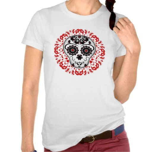 Girly day of the dead sugar skull super cute tee shirt. Just sold this, thank you. #day_of_the_dead #sugar_skull #dia_de_los_muertos #t_shirts