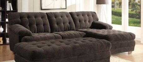 Home Elegance 9739CH Channel-Tufted 2-Piece Textured Plush Microfiber Sectional Sofa Set : plush sectional sofa - Sectionals, Sofas & Couches
