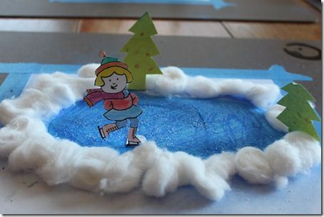 Winter Ice Skating Craft. combine with personalized game pieces for play mat.