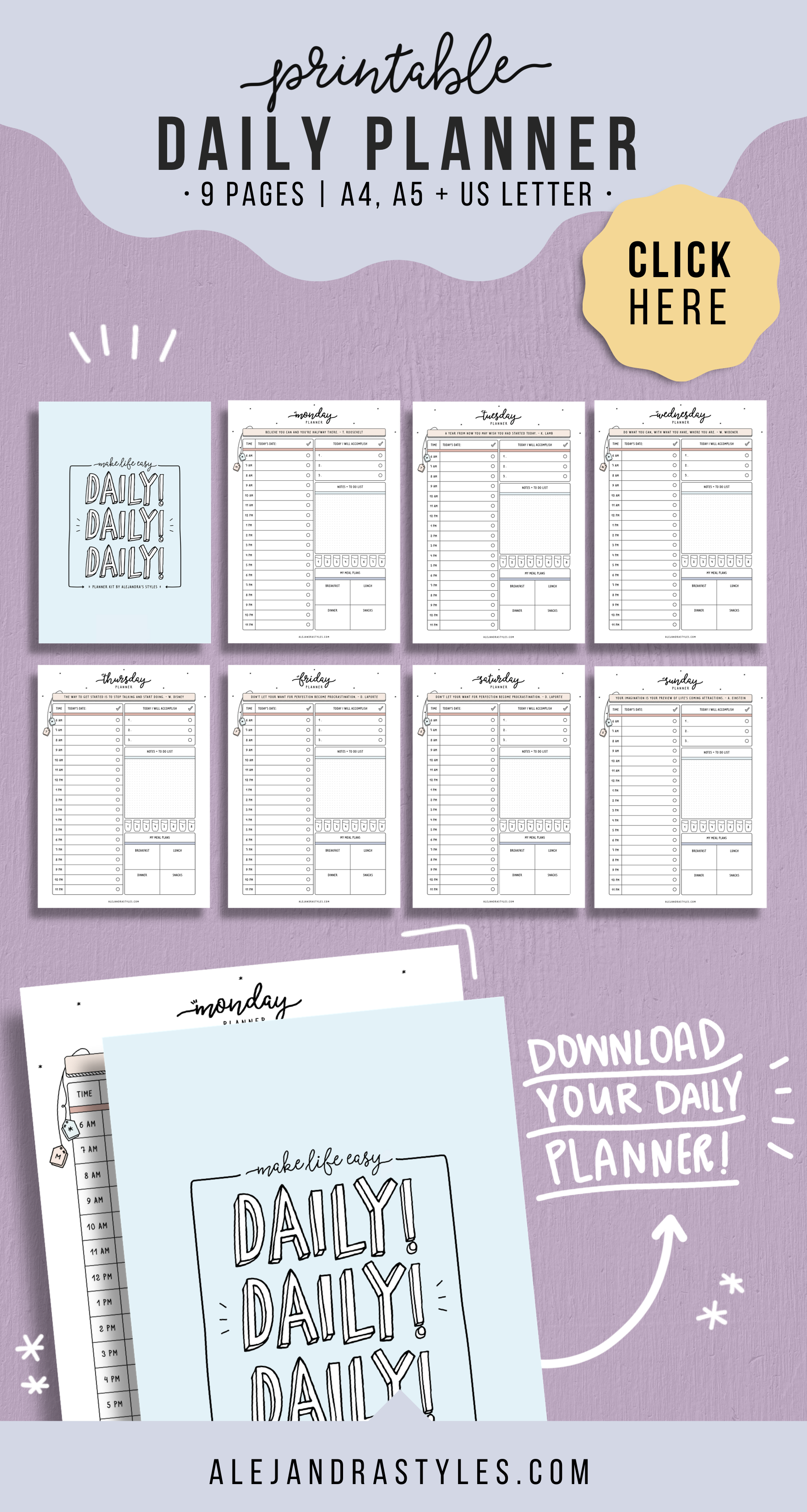 Daily Schedule Printable, 6AM11PM Hourly Daily Planner