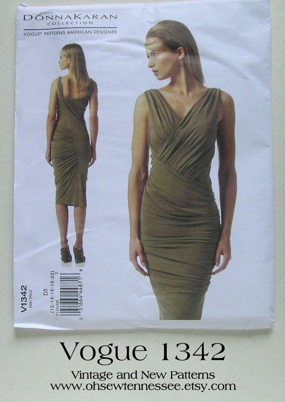 Donna Karan Dress - Vogue 1342 - Designer Sewing Pattern, Sizes 12 ...