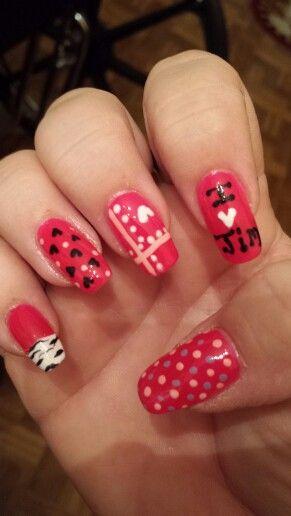 "My ""sweet"" nail designs I did. Love"