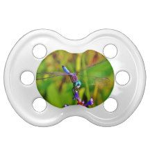 Rainbow Dragonfly and flower Pacifiers