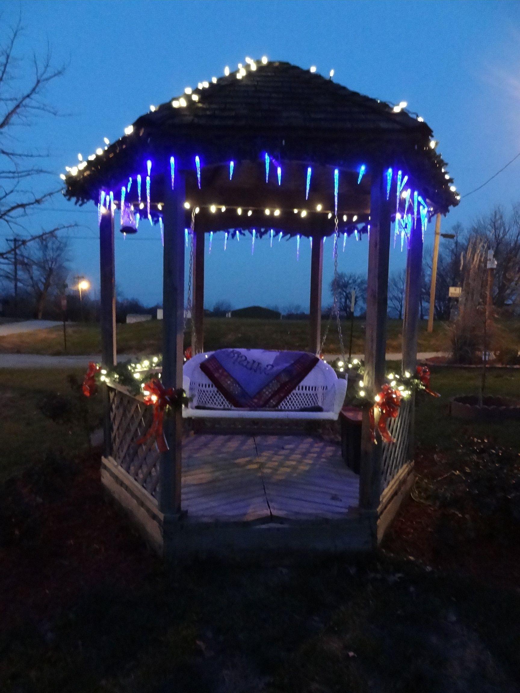 Fairy lights around frame at night? Gazebo, Fairy lights