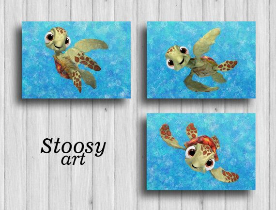 Squirt finding nemo poster set of 3 sea turtle wall art