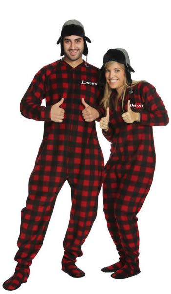 Big Feet Adult Footie Pajamas 101 Red & Black Tartan Plaid Footed ...