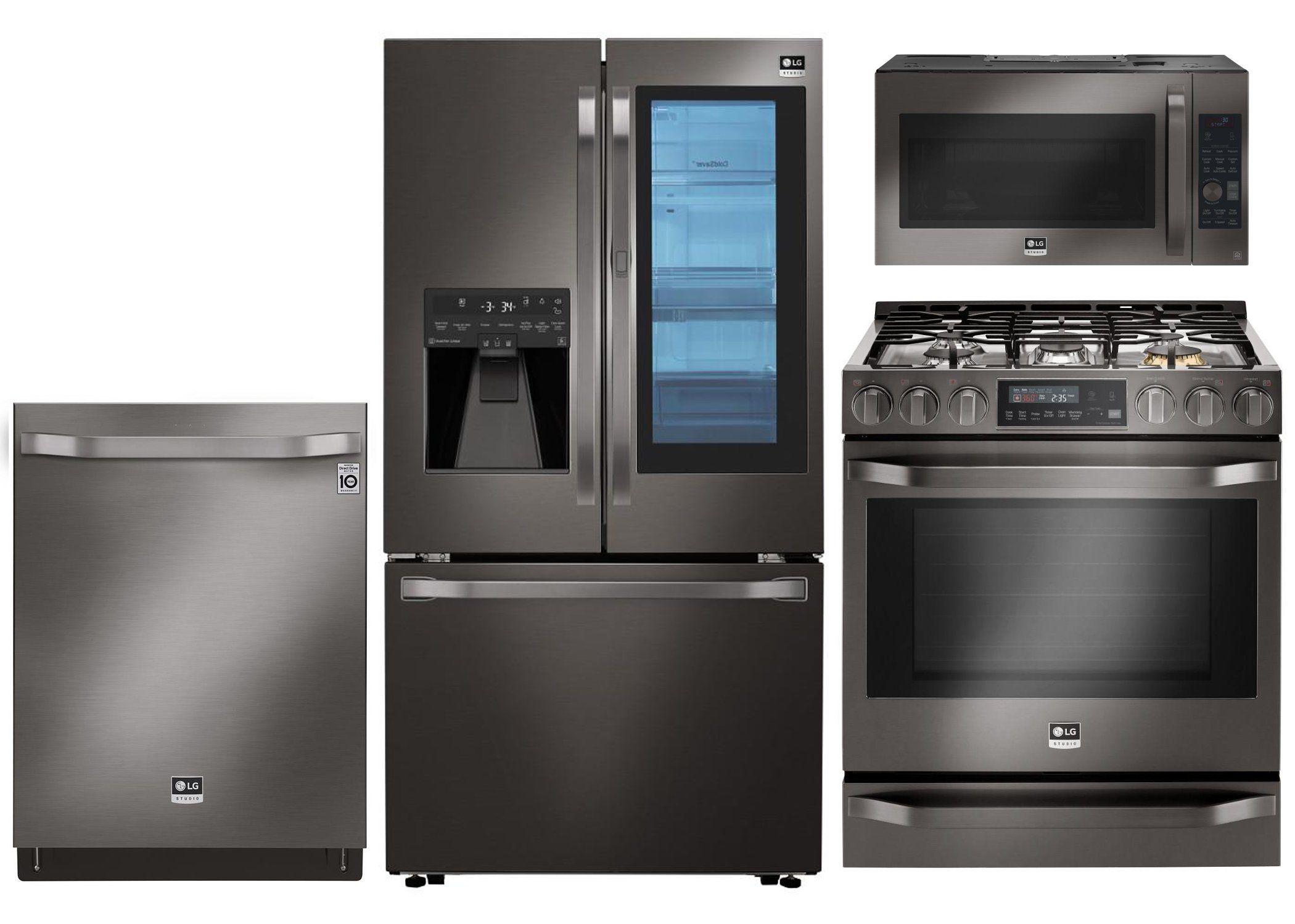 Lg Studio 4 Piece Kitchen Appliance Package With Gas Range Black Stainless Steel Kitchen Appliance Packages Kitchen Appliances Kitchen