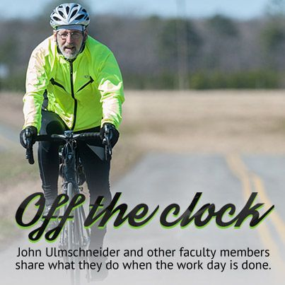 """[the cycling librarian]  """"You have to make a commitment. It gives you energy. If you skip it, you feel bad. It's part of your life, like eating or anything else."""" ~ John Ulmschneider, University Librarian  http://bit.ly/1nedulQ"""