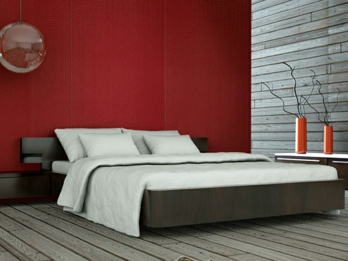 Charming Schlafzimmer Rote Wand #1: Rote Wand Wandgestaltung Wandpaneel