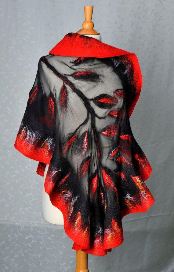 Nuno felted shawl / wrap / merino wool / mulberry silk ...