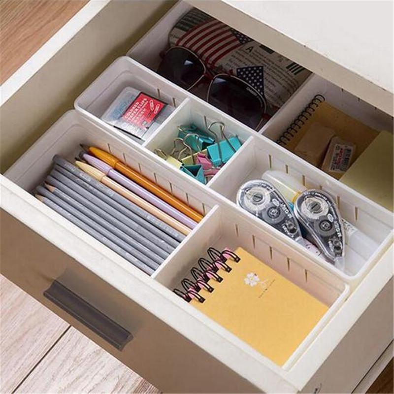 Adjustable Plastic Drawer Organizer And Storage Box Plastic Drawer Organizer Drawer Organisers Organized Desk Drawers