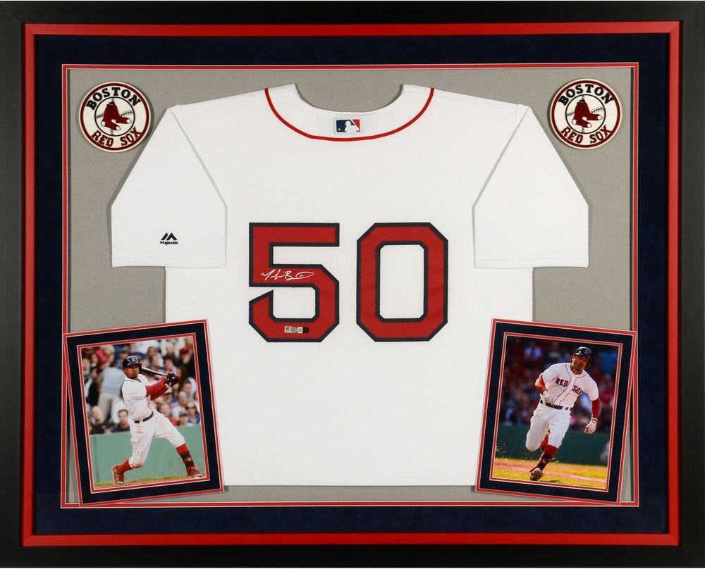 bf803743b Mookie Betts Boston Red Sox Framed Signed White Replica Jersey - Fanatics