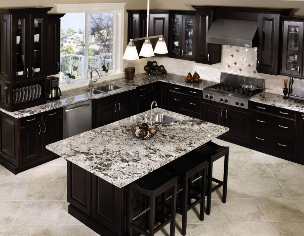 Kitchen With Black Liances White Ceramic Tiles Floor Granite Countertop Dark Brown Wooden Cabinet Pendant Lamps