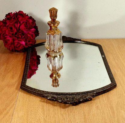 ANTIQUE VANITY TRAY Mirror Vintage Dresser Tray Ormolu Art Nouveau Vanity  Mirror 14.5