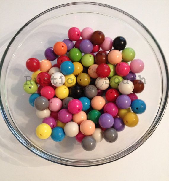 DIY Chunky Necklace - 100 ct. 20mm Chunky Beads Mix Multi Colored