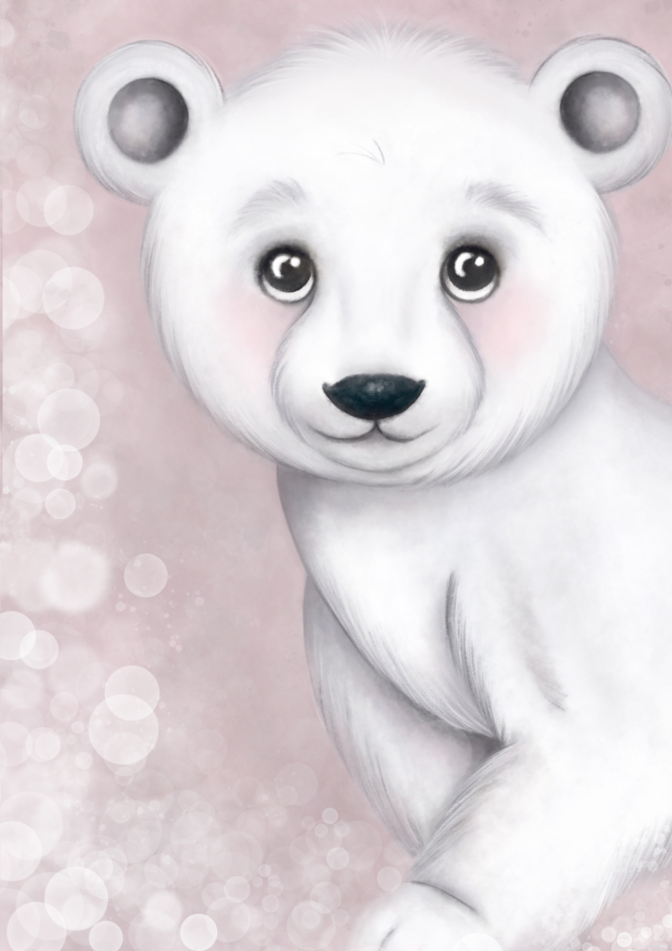 Foster The Polar Bear Available in pink/grey