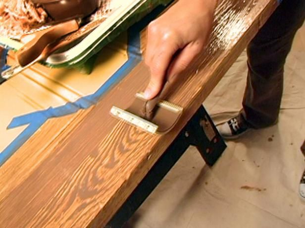 How to Paint a Faux Wood Grain is part of Faux wood paint, Faux painting techniques, Faux painting, Faux wood beams, Faux wood, Staining wood - Create a faux woodgrain look on a table using gel stain and a woodgraining rocker