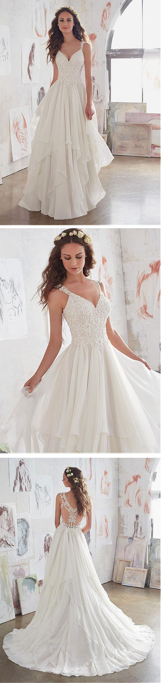 Chiffon V-Neck A-Line Wedding Dresses With Beaded Lace Appliques ...