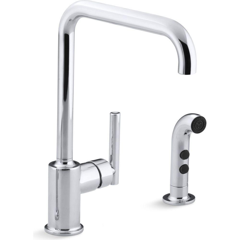 Kohler K 7508 BL Purist Matte Black One Handle With Sidespray Kitchen  Faucets |