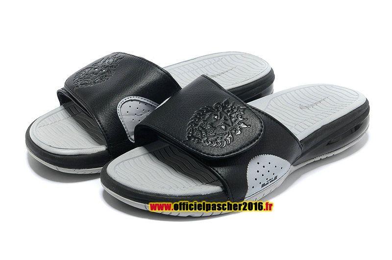 ac8816a5106e3 Officiel Nike LeBron 10 X Nike Air Sandales Nike 2016 Pas Cher Pour Homme  Noir - Blanc