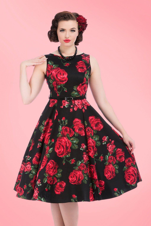 S hepburn red rose dress in black fab wardrobe pinterest