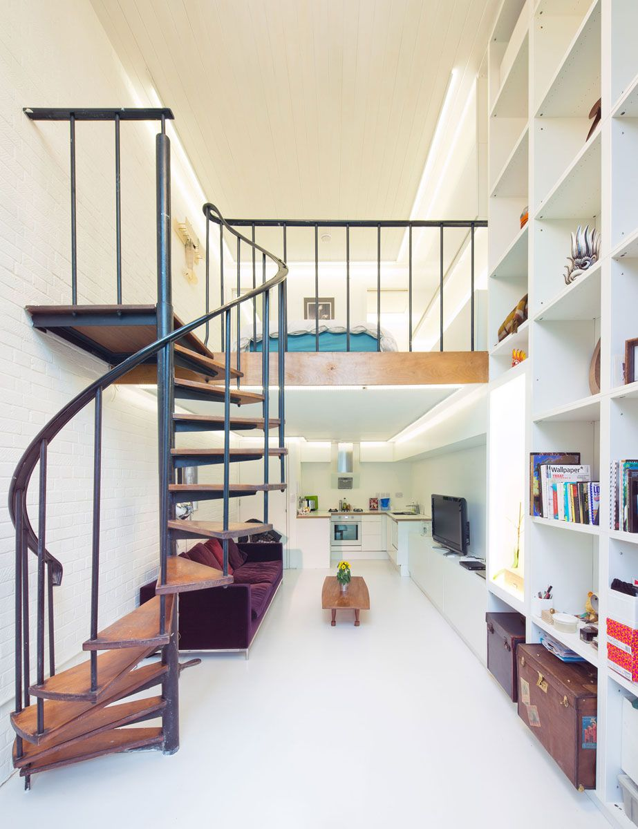 compact loft apartment with spiral staircase london uk