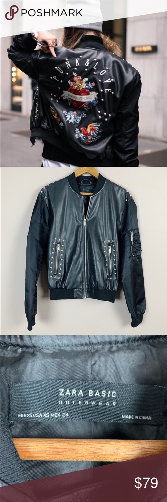 Final Sale Zara Punk Love Bomber Jacket Faux Leather Bomber Jacket Bomber Jacket Clothes Design [ 1740 x 580 Pixel ]
