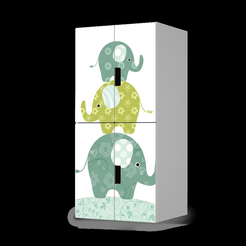 hochwertige klebefolie f r stuva schrank 4 kleine t ren mit dem design elephants unsere folie. Black Bedroom Furniture Sets. Home Design Ideas