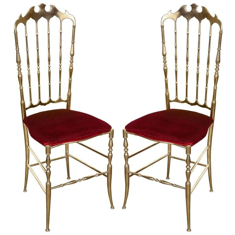 Brass chairs by chiavari italy from a unique collection