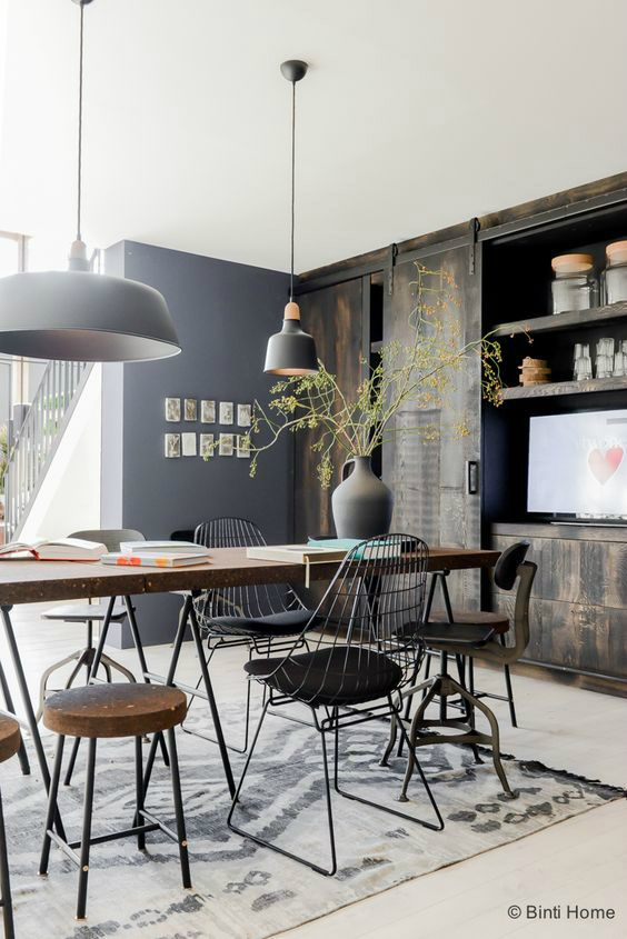 Superbe Industrial Dining Room Simple Idea 5