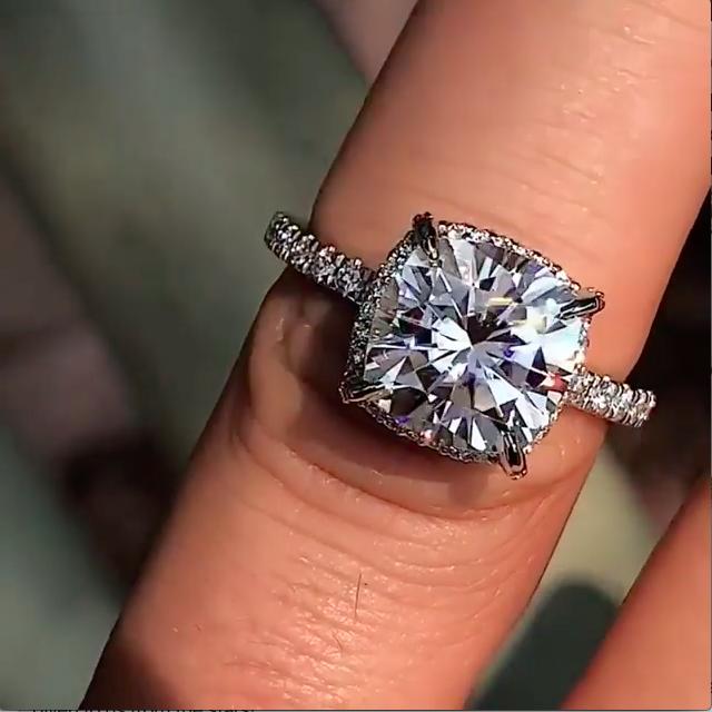 Forever Brilliant Moissanite Petite Pave Style Engagement Ring 14k White Gold