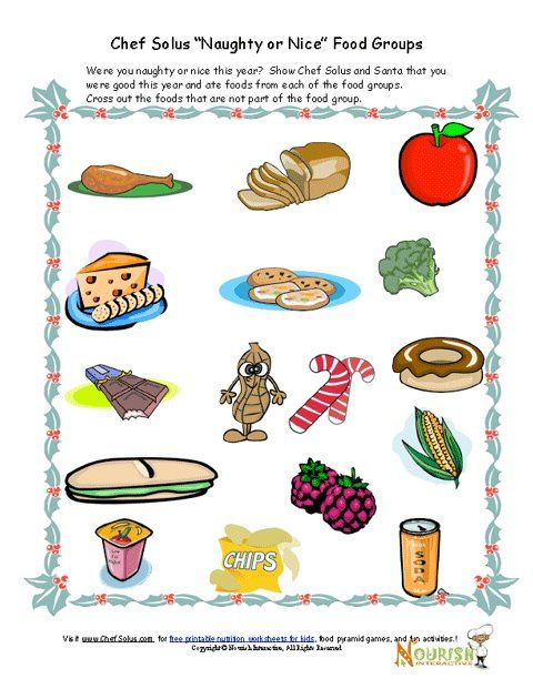 Kids' Food Groups Christmas Worksheet | Group meals ...