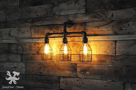 Lampe murale double vintage trident industriel industrial