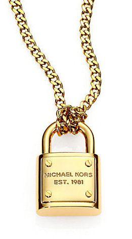 65b3bb2af551 Michael Kors Logo Padlock Chain Link Necklace on shopstyle.com ...