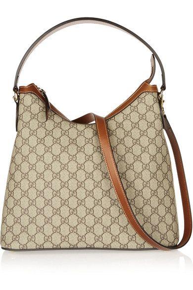 34d4f1324760 Gucci   Linea A Hobo leather-trimmed coated canvas shoulder bag    NET-A-PORTER.COM