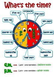 English worksheet: What´s the time? *2 pages - A POSTER + ...