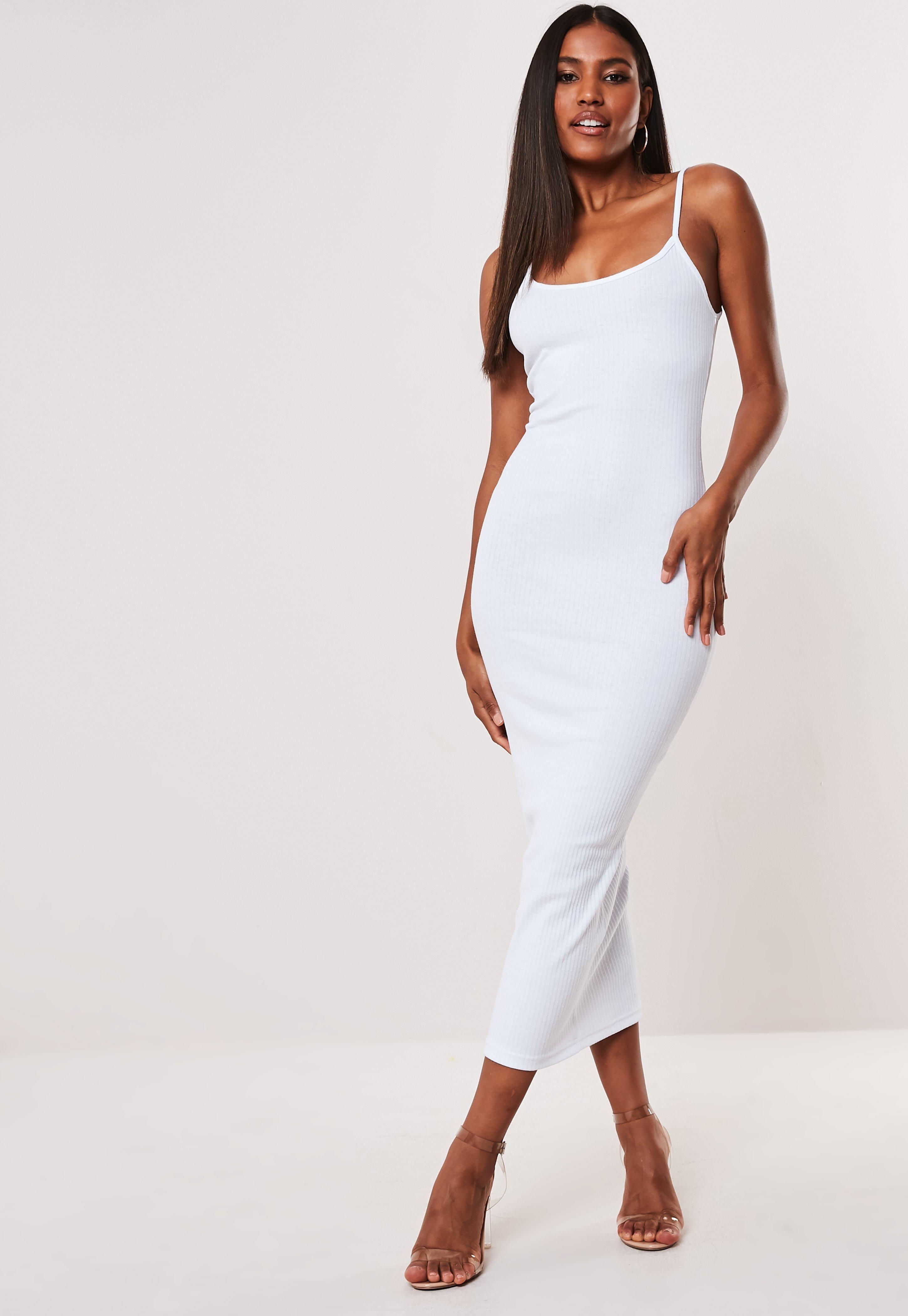 White Ribbed Strappy Bodycon Midi Dress Sponsored Strappy Aff Ribbed White Midi Dress Outfit Midi Dress Bodycon Trending Dresses [ 4200 x 2900 Pixel ]