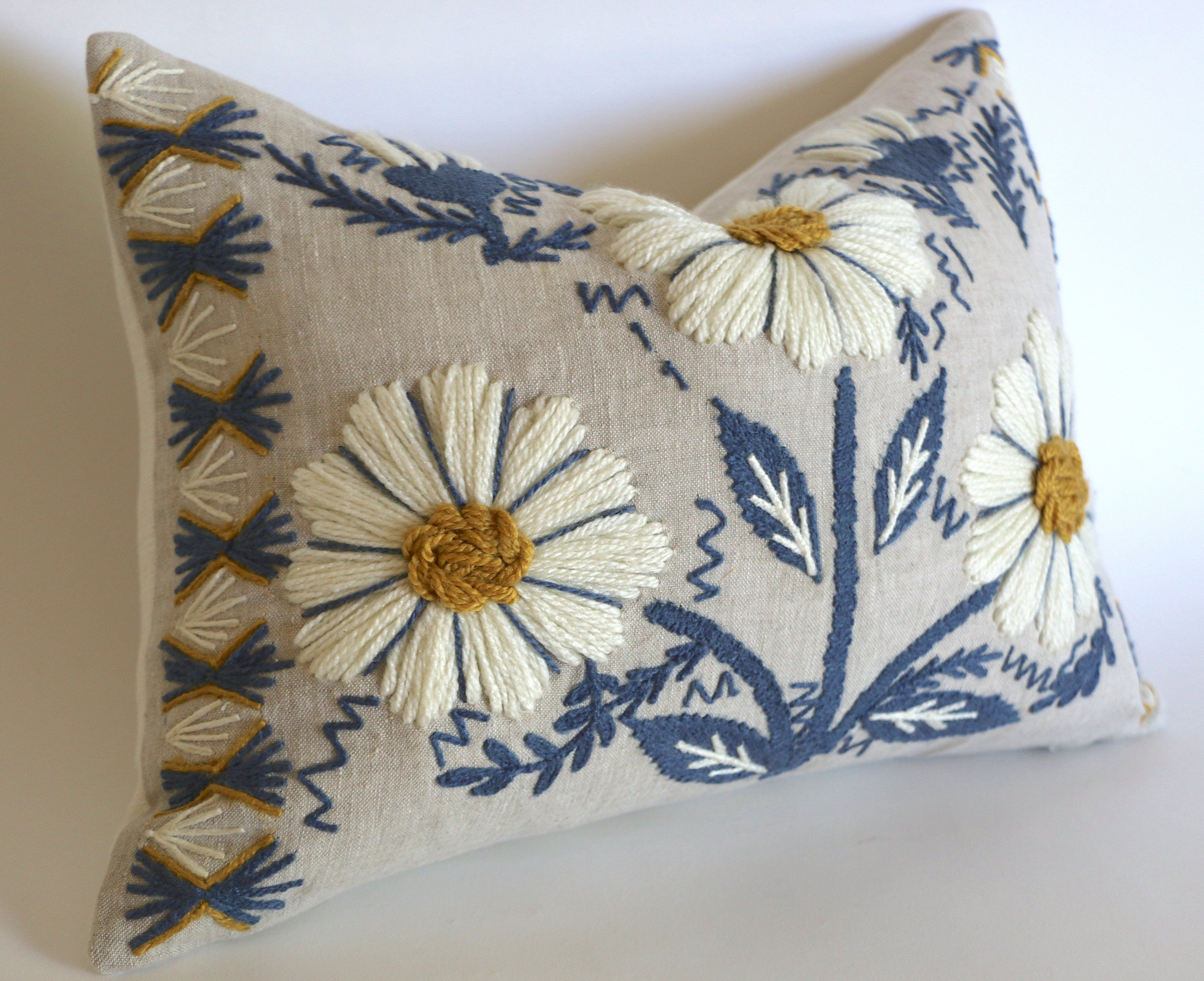 Schumacher Swedish Wool Embroidered Pillow Cover in Blue, Ochre, & Natural - 22x22