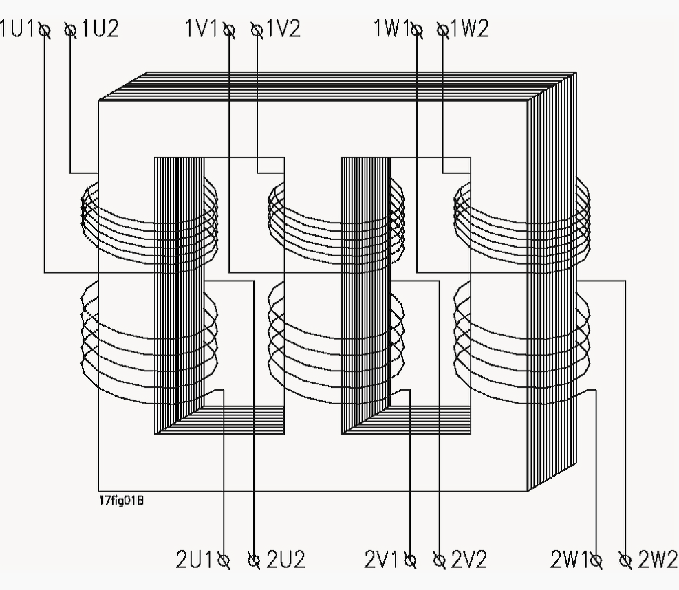 Schematic diagram of a three-phase transformer